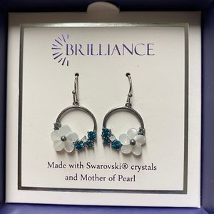 Swarovski and Mother of Pearl Earrings NWOT